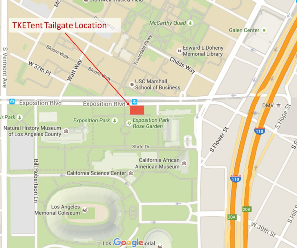 TKETent Tailgate Location Map