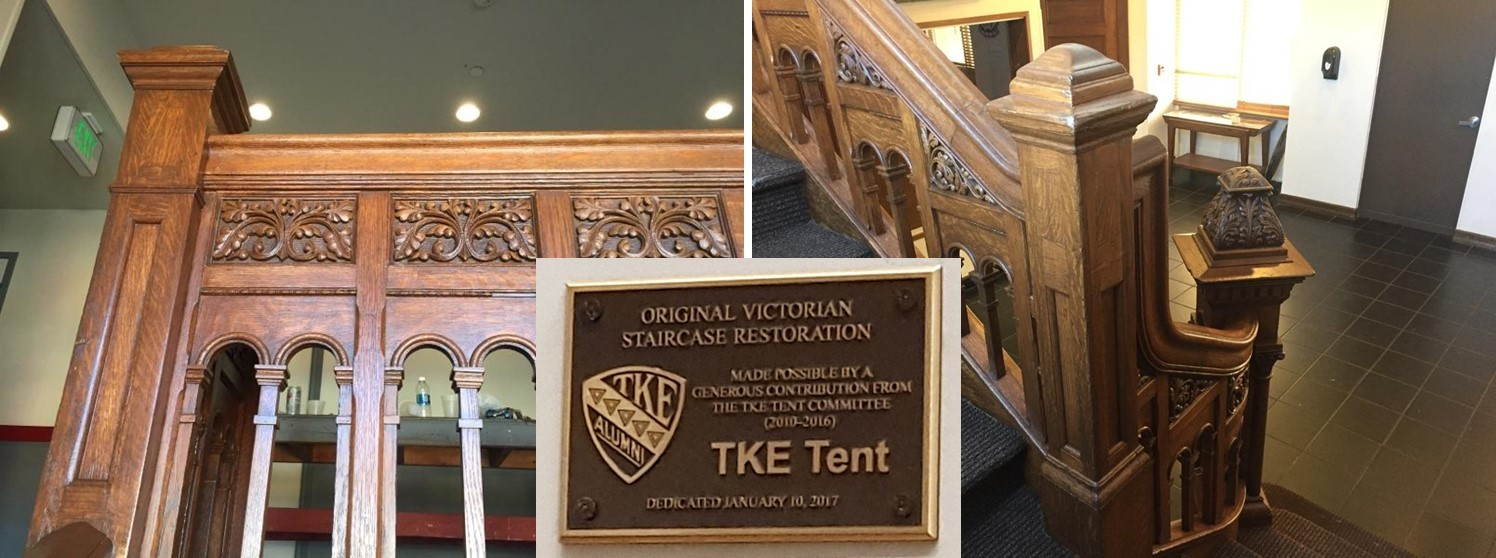 Stairacase and TKE Tent Plaque